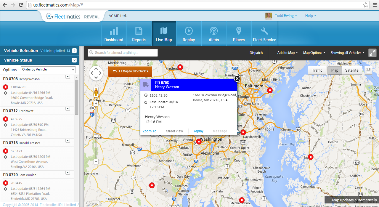Fleetmatics REVEAL shows you where your vehicles and drivers are in real time.