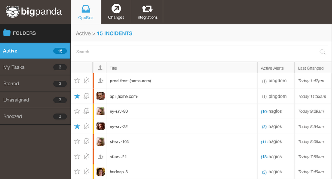 Related alerts are grouped together in a list, so figuring out the root cause of an incident doesn't have to include manually sorting through your alert stream.