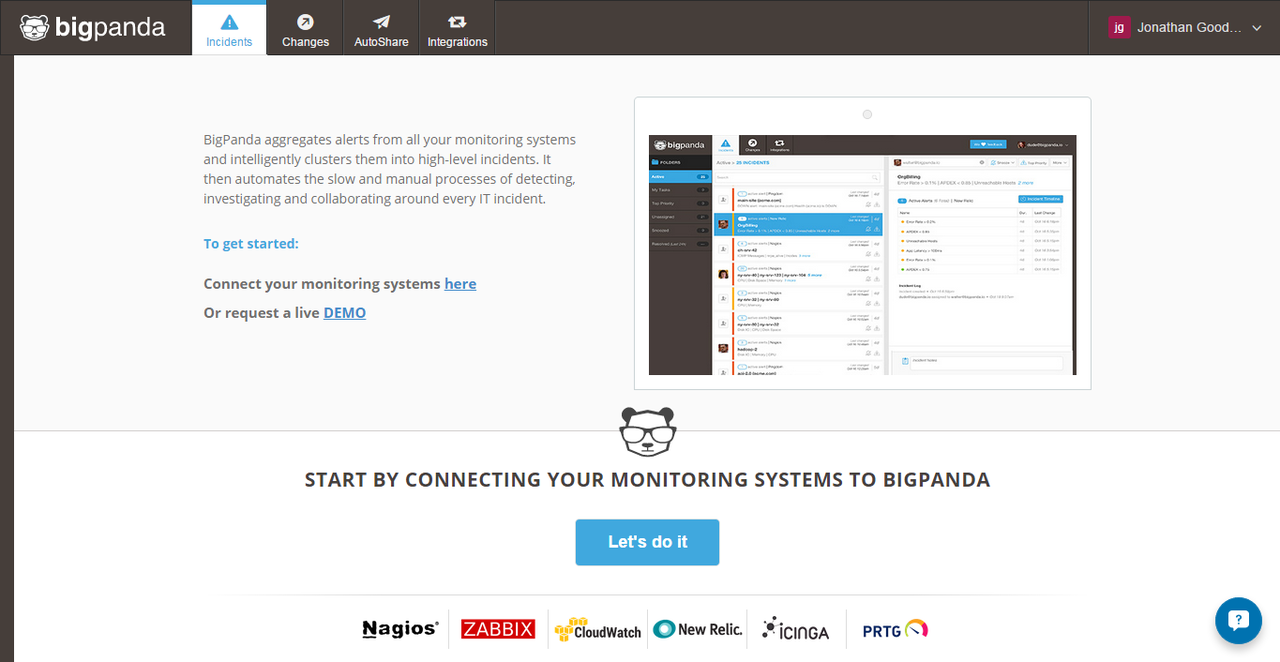 To get started with BigPanda, connect the monitoring systems your organization already uses.