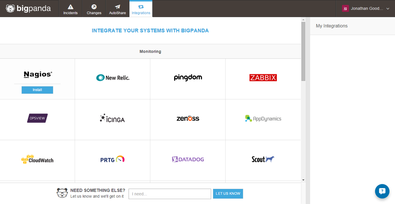 The app has ready-made integrations with third-party monitoring and deployment tools, and the BigPanda API can be used for custom integrations.