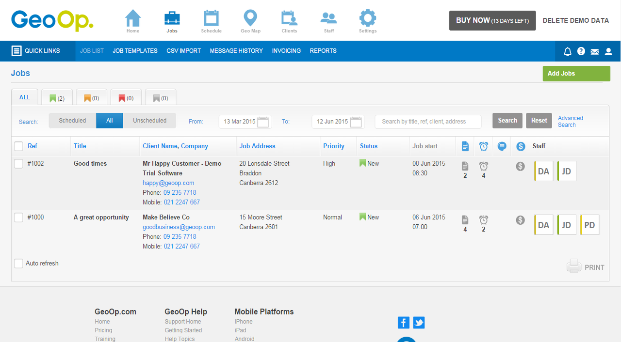 GeoOp maintains a simple, easily navigable dashboard that can be branded and customized.