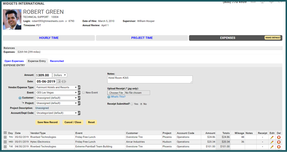 Employees can enter expenses and attach receipts within Timesheets.com
