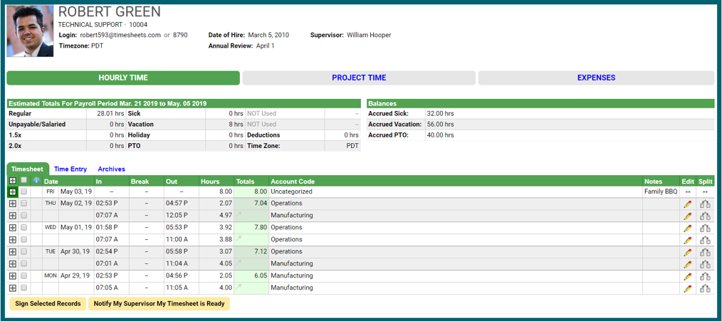 Employee time tracking for payroll