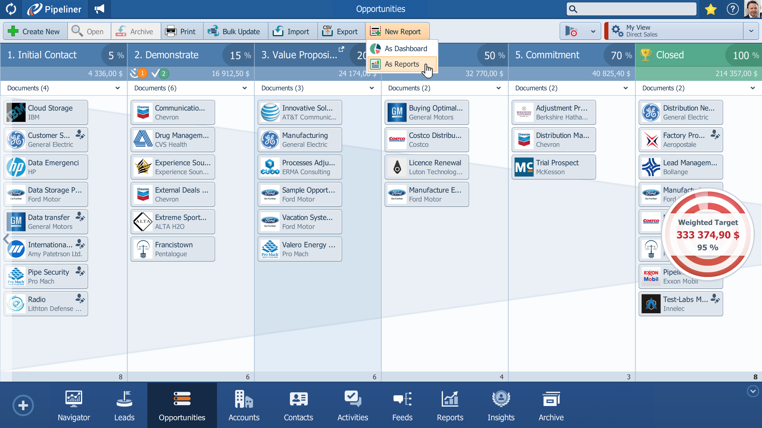 When you log in to Pipeliner CRM, you are automatically given a visual of your sales pipeline. Creating a new note, lead, account, contact, opportunity or activity can be easily done via the Create menu