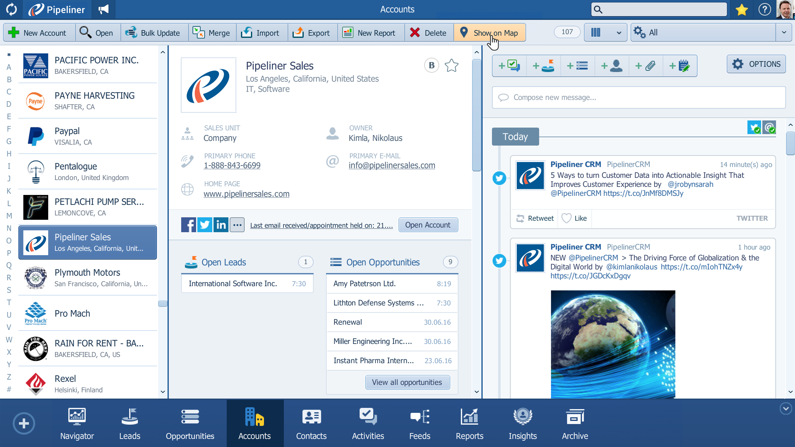 The Accounts and Contacts summary pane lists all your accounts and contacts in the Pipeliner CRM database, including relevant details