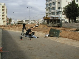 Beckmann in a West bank street - waiting for the clashes to begin