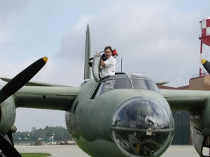 DP, Dan Beckmann, atop the B-26 Marauder