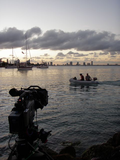 timelaps shot Go To Team Clark Crew Wraps BCS Football Coverage in Miami