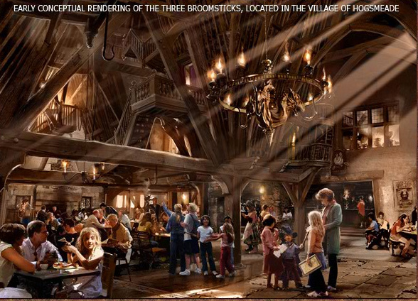 Three Broomsticks concept art Go To Team helps Universal Studios Reveal The Wizarding World of Harry Potter