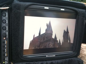 Field monitor showing the Hogwarts  - live for NBC's Today Show -