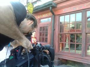 Dan Beckmann shooting exteriors of Zonko's Joke Shop