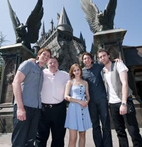 Stars of the film outside Hogwarts Castle