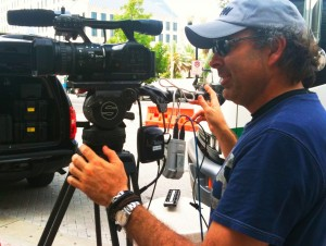 Orlando DP/Partner Dan Beckmann setting up live for the Today Show with Correspondent Kerry Sanders