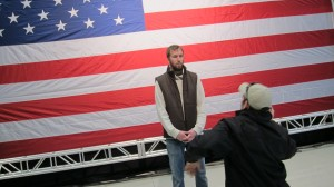 DP Tom Wells and Camera Assistant Kevin Juston Testing Shots With The Flag