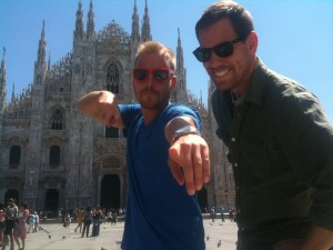 Producer, Logan Swain and Go To Team's Jimmy Hall in Milano, Italy.  Beckmann, as usual, is behind the camera
