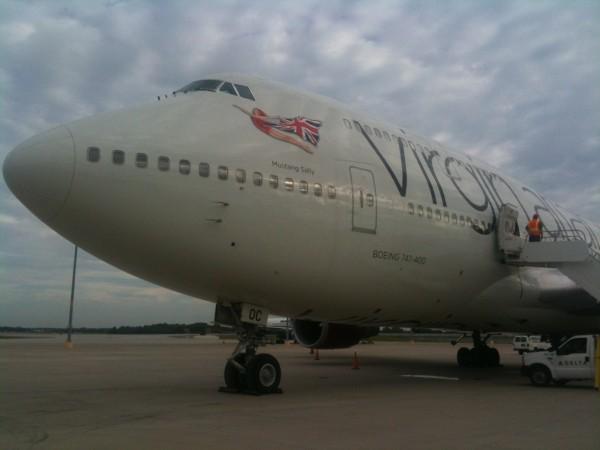 Virgin Atlantic's Boeing 747-400 waits on the tarmac at Tampa International Airport