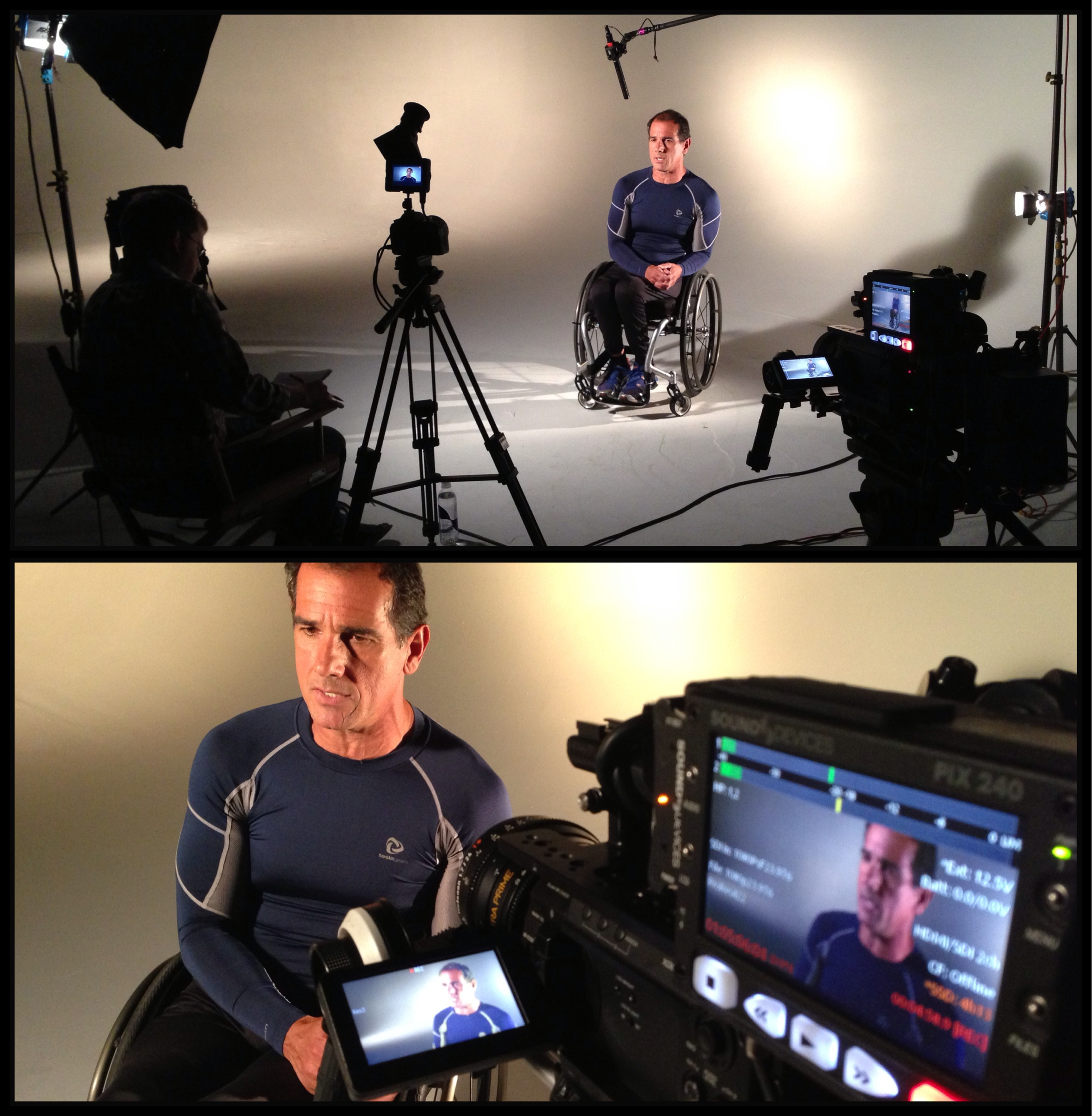 Carlos 1 Charlotte Crew shoots with Paratriathletes and Marathon Moms with Intersport.