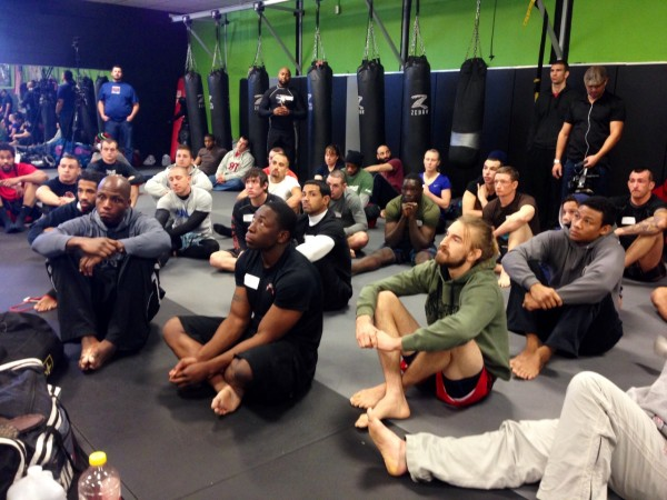 pads 600x450 Charlotte Crew Shoots Inside MMA For AXS TV
