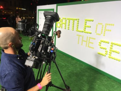 Battle of the Sexes 4 400x300 Los Angeles Camera Crew with Billie Jean King, Emma Stone and CBS Sports