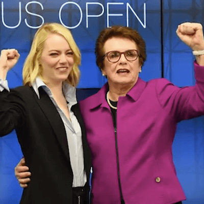 Battle of the Sexes 2 Los Angeles Camera Crew with Billie Jean King, Emma Stone and CBS Sports