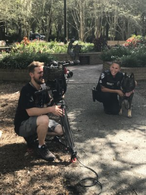 "Smiles on the ground in Azalea Park e1520436628851 300x400 Charleston, South Carolina Video Camera Crew Goes on K 9 Patrol with A&E's ""Live PD"""