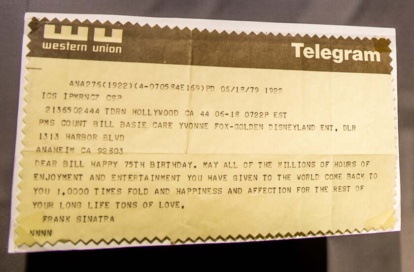 A telegram sent to Count Basie from Frank Sinatra on Basie's 75th birthday (1979), on display in the New Jersey Legends exhibit at the GRAMMY Museum Experience™ Prudential Center in Newark, NJ.