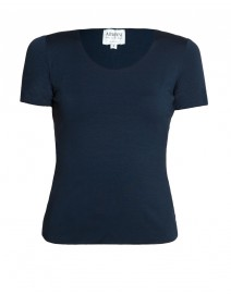 Navy Scoop Neck Short-Sleeve Jersey Top | Armani Collezioni
