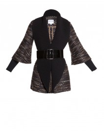 Belted Sweater Coat with Oversized Collar | Armani Collezioni