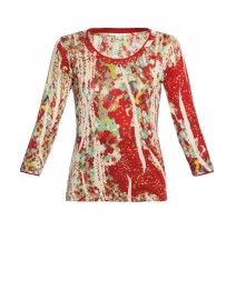 Red Floral Silk and Cashmere Knit | Pashma