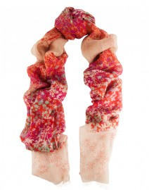 Red and Pink Horizontal Floral Silk and Cashmere Scarf | Pashma