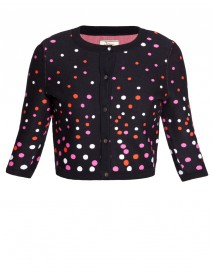 Stretch Knit Dots Cropped Cardigan | Issa