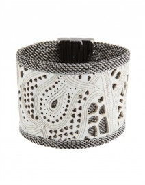 Wide White Laser Cut Leather Bracelet | Cynthia Desser