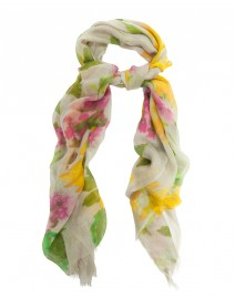 Mint Floral Silk and Cashmere Scarf | Pashma