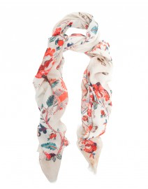 Cream Floral Modal and Cotton Scarf | Scialle
