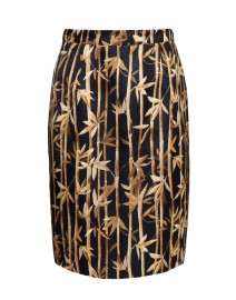 Bamboo Print Linen Blend Pencil Skirt | Les Copains
