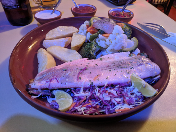 Classy trout dinner at Orilla set me back ~58 Bol or 9ish dollars