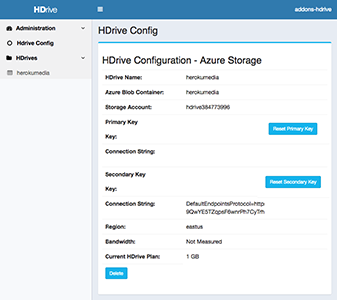 hdrive configuration for aws (amazon s3 bucket), or blob storage (microsoft azure container), or gcs (google bucket).
