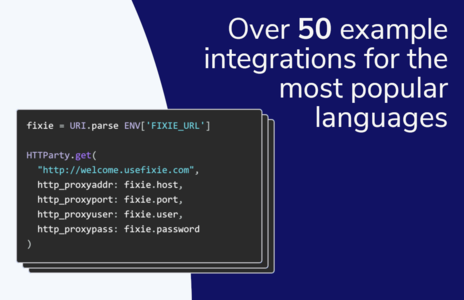 Over 50 example integrations for the most popular languages