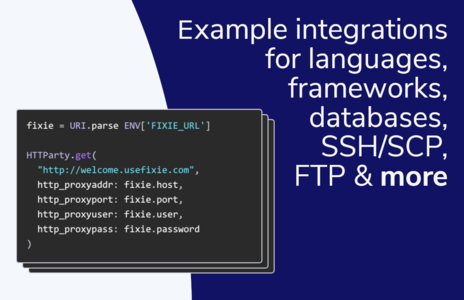 Example integrations for languages, frameworks, databases, SSH/SCP, FTP and more