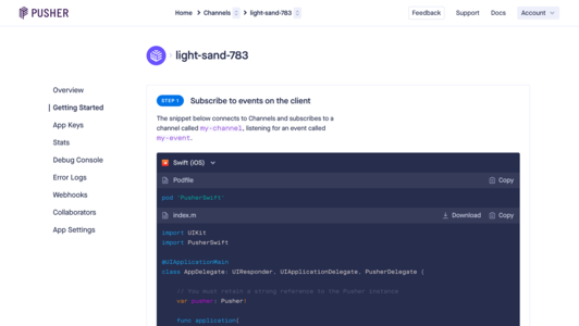 Pusher Channels getting started page with code snippets