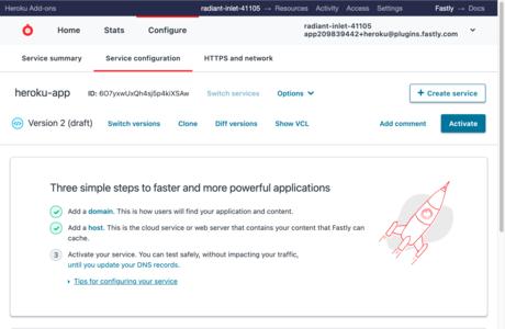 Edit service configuration page
