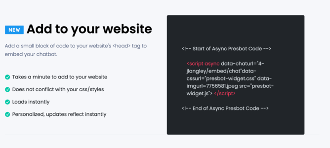 Add to your website in a breeze