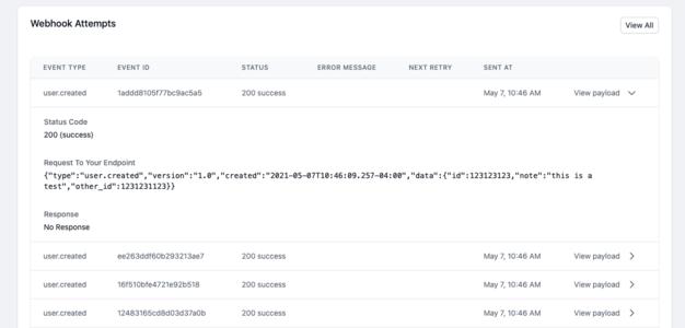 hostedhooks - webhook attempts dashboard