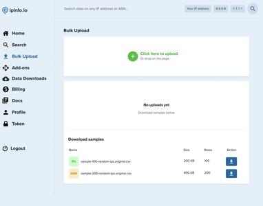 IPinfo IP address bulk upload lookup