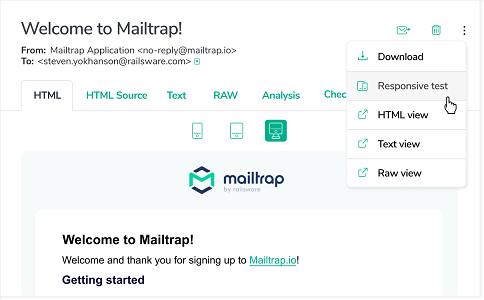 Mailtrap responsive test and view modes