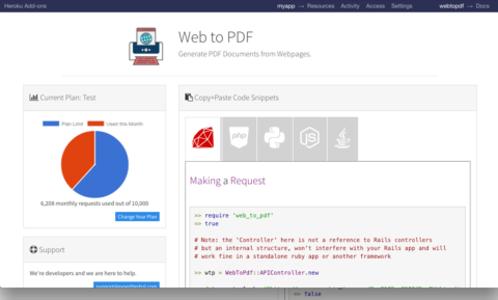 web to pdf add ons heroku elements