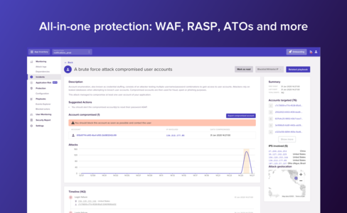 All-in-one protection: WAF, RASP, ATOs and more