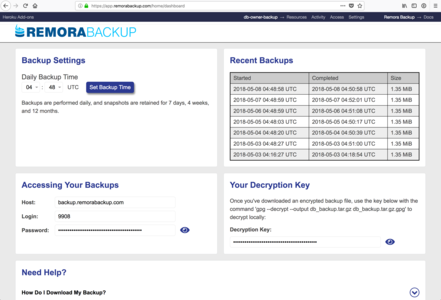 Remora Backup dashboard