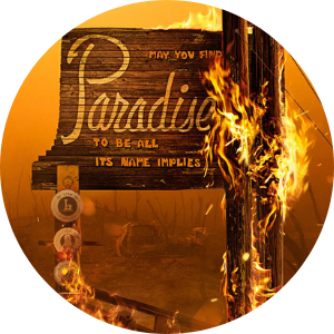 Welcome to Paradise sign on fire