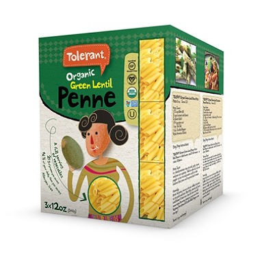 Tolerant Foods Pasta - Organic Elbow Penne Green Lentil